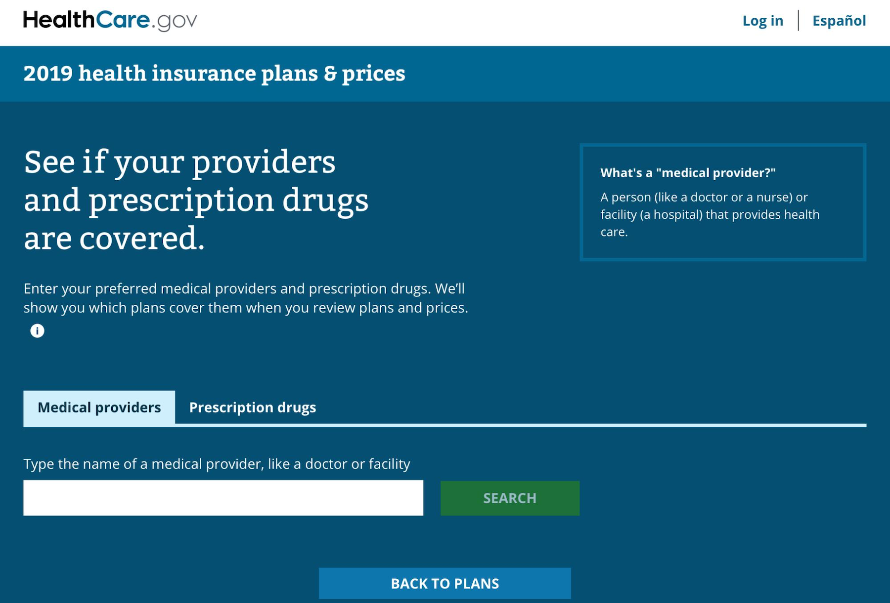 Screenshot of the Drug and provider search tools on HealthCare.gov