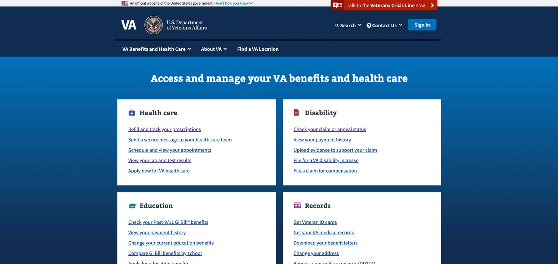 Screenshot of VA.gov site